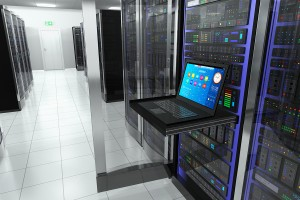Creative business, web telecommunication, internet technology connection, cloud computing and networking connectivity concept: terminal display in server room with server racks in datacenter interior